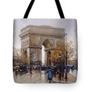 L'arc De Triomphe Paris Tote Bag by Eugene Galien-Laloue