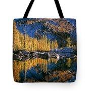 Larch Tree Reflection In Leprechaeun Lake  Tote Bag