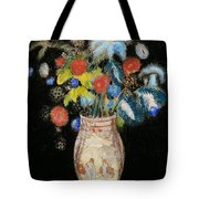 Large Bouquet On A Black Background Tote Bag by Odilon Redon