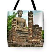 Large Sitting Buddha At Wat Mahathat In 13th Century Sukhothai H Tote Bag