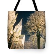 Large Stone Church At Night Tote Bag