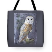 Large White Barn Owl Tote Bag