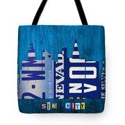 Las Vegas Nevada City Skyline License Plate Art On Wood Tote Bag by Design Turnpike