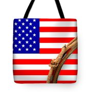 Lasso And American Flag Tote Bag