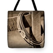 Lasso On Fence Post Rustic Tote Bag