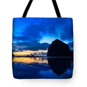 Last Light - Cannon Beach Sunset With Reflection In Oregon The Coast Tote Bag