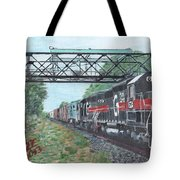 Last Train Under The Bridge Tote Bag by Cliff Wilson