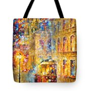 Last Trolley - Palette Knife Oil Painting On Canvas By Leonid Afremov Tote Bag