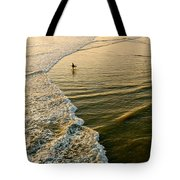 Last Wave - Lone Surfer Waiting For The Perfect Wave In Huntington Beach Tote Bag