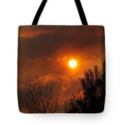 Late Afternoon Sun Through Smoke And Clouds Tote Bag
