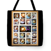 Latte Art Collage Tote Bag