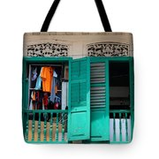 Laundry Hanging Seen Through Open Wood Shutter Windows Singapore Tote Bag