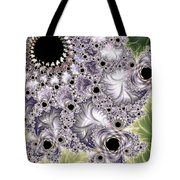 Lavender And Green Fractal Abstract  Tote Bag