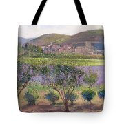 Lavender Seen Through Quince Trees Tote Bag by Timothy  Easton
