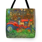 Lawn Tractor And Wood Pile Tote Bag