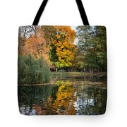 Lazienki Park Autumn Scenery In Warsaw Tote Bag