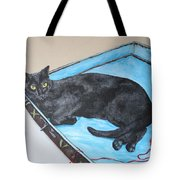 Lazy Black Cat Tote Bag