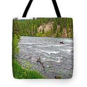 Le Hardy Rapids Of Yellowstone River In Yellowstone River In Yellowstone National Park-wyoming   Tote Bag