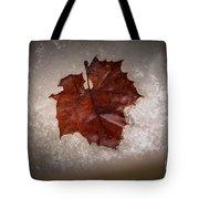Leaf In Snow Tote Bag