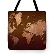 Leather World Map Tote Bag