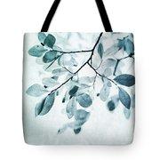 Leaves In Dusty Blue Tote Bag