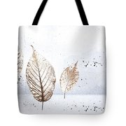 Leaves In Snow Tote Bag