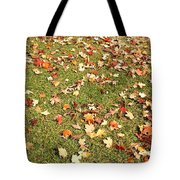 Leaves On Grass Tote Bag
