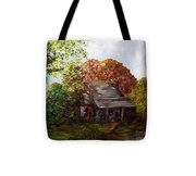 Leaves On The Cabin Roof Tote Bag by Eloise Schneider