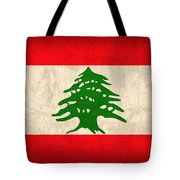 Lebanon Flag Vintage Distressed Finish Tote Bag