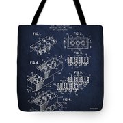 Lego Toy Building Brick Patent - Navy Blue Tote Bag by Aged Pixel