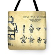 Lego Toy Figure Patent Drawing From 1979 - Vintage Tote Bag by Aged Pixel