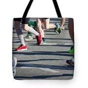 Legs Of Runners At Marathon Tote Bag