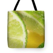 Lemon And Lime Slices In Water Tote Bag