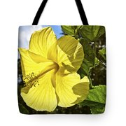 Lemon Yellow Hibiscus Tote Bag