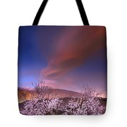 Lenticular Clouds Over Almond Trees Tote Bag