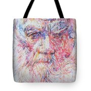 Leo Tolstoy/ Colored Pens Portrait Tote Bag