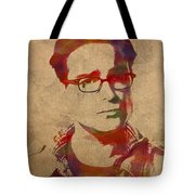 Leonard Hofstadter Watercolor Portrait Big Bang Theory On Distressed Worn Canvas Tote Bag