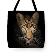 Leopard In The Dark Tote Bag by Johan Swanepoel