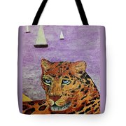 Leopard On The Water Tote Bag