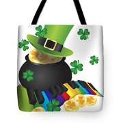 Leprechaun Hat With Piano Keys And Pot Of Gold Tote Bag
