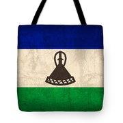 Lesotho Flag Vintage Distressed Finish Tote Bag