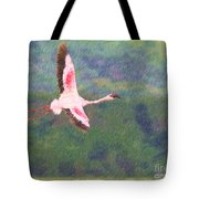 Lesser Flamingo Phoenicopterus Minor Flying Tote Bag