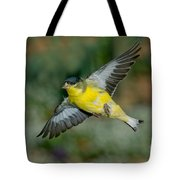 Lesser Goldfinch Male-flying Tote Bag