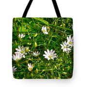 Lesser Stitchwort Near Lobster Cove In Gros Morne National Park-newfoundland   Tote Bag