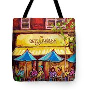 Lester's Deli Montreal Smoked Meat Paris Style French Cafe Paintings Carole Spandau Tote Bag