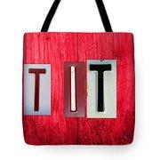Let It Be License Plate Letter Vintage Phrase Word Artwork On Red Wood Tote Bag