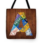 Letter A Alphabet Vintage License Plate Art Tote Bag by Design Turnpike