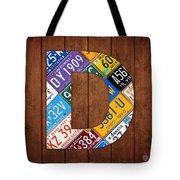 Letter D Alphabet Vintage License Plate Art Tote Bag by Design Turnpike