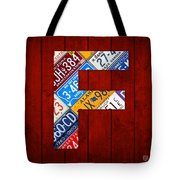 Letter F Alphabet Vintage License Plate Art Tote Bag