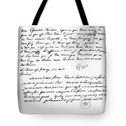Letter To Voltaire From King Frederick Tote Bag